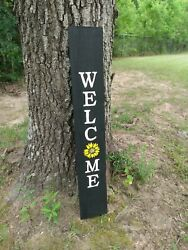 Wood Front Door Sign Welcome Porch Vertical Weathered Farmhouse 33 Tall