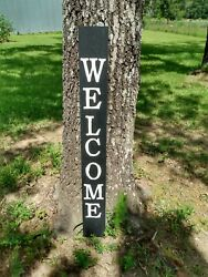 Large Wood Door Sign Welcome Porch Vertical Weathered Farmhouse 48 Tall 4 Ft