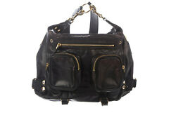 Authentic Darwin Convertible Medium Black Leather Backpack Bag Gold Accent