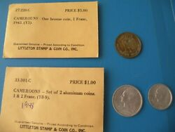 French Coins 1943 1 Franc 1 And 2 Franc 1948 By Littleton Stamp O11