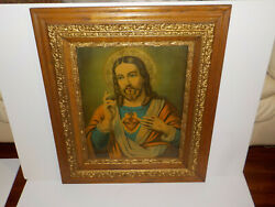 Antique Religious Holy Sacred Heart Of Jesus Lithograph In Beautiful Wood Frame