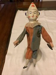 Antique German 10 Squeeze Jester/clown Cymballs Doll