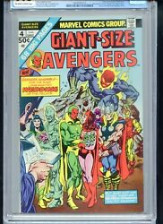 Giant Size Avengers 4 Cgc 9.8 Owtw Vision Scarlet Witch Wed 1 Of Only 4 9.8s