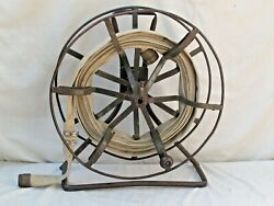 Antique Cast Iron Fire Reel And Hose