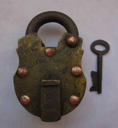 Old Or Antique Brass Padlock Or Lock With Key Heavy And Decorative Shaped