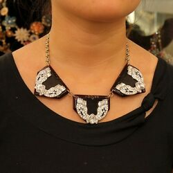 Necklace Triple Triangle Resin Crystal Original Modern Evening Marriage Ll 2