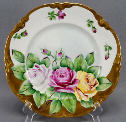 Hutschenreuther Hand Painted Signed Ns Pink Rose And Gold 9 7/8 Inch Dinner Plate