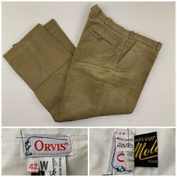 Orvis 42 Made In England Moleskin Cotton Green Trousers Pants New With Tags