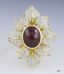 Gorgeous Ruby And Diamond 18k Gold Flower Shaped Ring