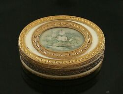 French 18k Gold Box With Miniature Rose Painting C1783