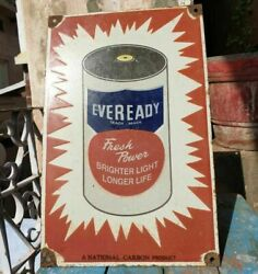 1930's Old Vintage Rare Eveready Battery Porcelain Enamel Sign Board Collectible
