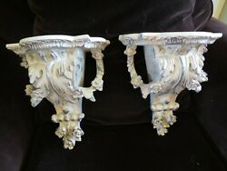 Pair Neoclassical Style Wall Shelf Sconces Country French Hollywood Regency Euc