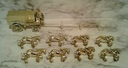 Vntg Budweiser Beer Plastic Gold Wagon W/ Men And Dog W/ 8 Clydesdale Horses