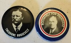 Roosevelt For President Theodore And Franklin Campaign Pinback Pins Buttons Rare