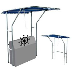 Boat Center Console Boat T Top-blue Canvas And Aluminum Tube 66.9x55.2x80.7