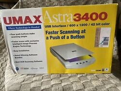 New In Box Umax Astra 3400 Flatbed Scanner Full Page Scanner 600 X 1200 Dpi