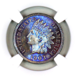 1903 Ms66 Bn Ngc Indian Head Penny Premium Quality Monster Toning