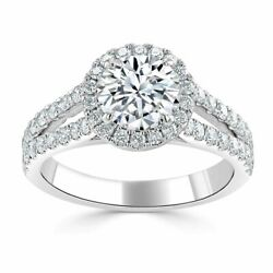 1.70 Ct Coupe Ronde Moissanite Fianandccedilailles Mariage Bague 14k Or Blanc Size 5 7 8