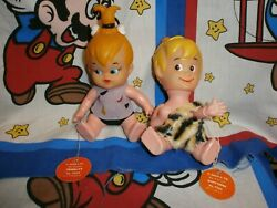 The Flintstones Pebbles And Bamm Bamm 1970 Dakin Figure Set With Tags New