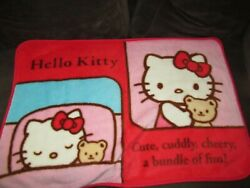 Hello Kitty Plush Baby Toddler Blanket Red Pink Cute Cuddly Cheery Bundle Of Fun