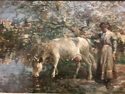 Impressionist Pastoral Scene Oil Painting Of Woman And Her Cow Signed Dossandeacute