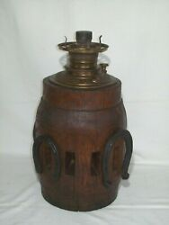 Antique Oil Kerosene Lamp - Unique Piece Made From An Authentic Wagon Wheel Hub
