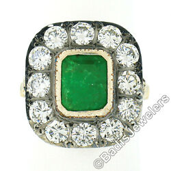 Vintage 18k Gold And Silver 3.8ct Bezel Emerald And Diamond Hand Engraved Fancy Ring