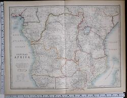 1903 Large Map Central Africa Travellers Routes Congo Free State Kamerun Nigeria