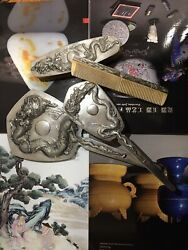 Chinese Export Silver Dressing Sets Engaved With Dragon Pattern And Marks