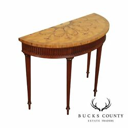 Hickory Chair Mahogany Marquetry Inlaid Demilune Console Table