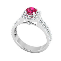1.55 Ct Round Real Ruby Diamond Engagement Ring 14k White Gold Size 6 7 8 9