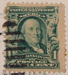 Benjamin Franklin Green 1 One Cent Stamp 1909 Rare W/ Collectible Ny Postcard
