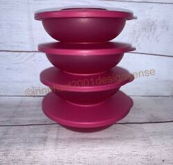 4 New Tupperware Impressions Salad/cereal/snack Bowls 3470 With Seals Hot Pink