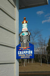 Old Style Car And Truck Champion Spark Plug Die-cut Flange Sign Usa Made Mint