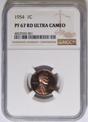 1954 Lincoln Cent Ngc Pf-67 Rd Ultra Cameo 20-001