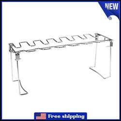 14 Slot Stainless Steel Bbq Rib Shelf Grill Barbecue Chicken Wing Leg Rack 3