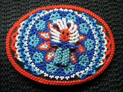 Native American Indian Chief Beaded Belt Buckle Vintage Rare Handmade Unique