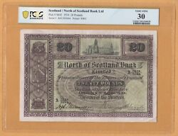 North Of Scotland Bank 20 Pounds 1934 Very Fine Pcgs-30 P-s641 Banknotes