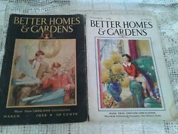 Vtg Antique Two Better Homes And Garden Magazine-march1928- Nov.1928