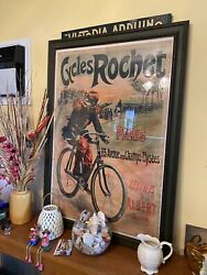 Antique French Poster Cycles Rochet Paris 3' X 2' Framed Rare Bicycle Cop Police