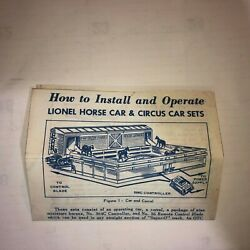 Lionel ,, 3356 3366 , Horse And Circus Cars Instruction Sheet , Color Copy