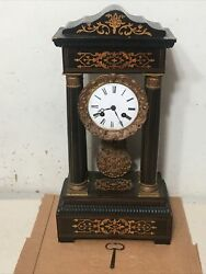 Antique French Inlaid Portico Wood Mantle Clock By Marti