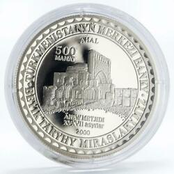 Turkmenistan 500 Manat Enev Mosque Xv Century Ahal Silver Proof Coin 2000
