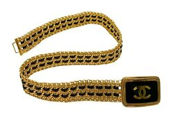 Rare Vintage Coco Mark Logo Buckle Gold Chain Belt Leather Rankab