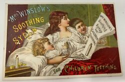 Vtg Mrs Winslows Soothing Syrup Teething Baby Victorian Trade Card 1886 Calendar