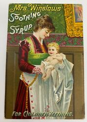 Vtg Mrs Winslows Soothing Syrup Teething Baby Victorian Trade Card 1889 Calendar