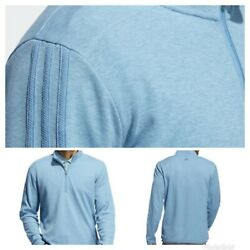 New Menand039s Adidas Golf 3-stripe 1/4 Zip Pullover - Hazy Blue - Choose Size