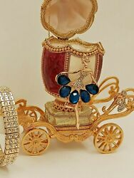 Luxury Sapphire Faberge Music One Of A Kind Trinket Real Egg And Bracelet 24k Gold