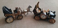 Vintage Diecast Miniature Car And Horse Carriage X2 Ornaments With Clocks,untested