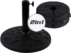 2 In 1 Patio Umbrella Stand Base Weight Sand Bag Heavy Duty Outdoor Black Resin